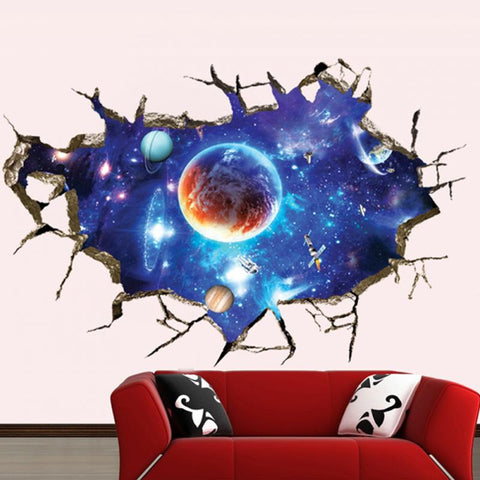 3D Galaxy Outer Space Planets Wall Removable Sticker - Topmazing