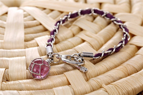 European Atlantis Braided Leather and Crystal Ball Pendant bracelet - Topmazing