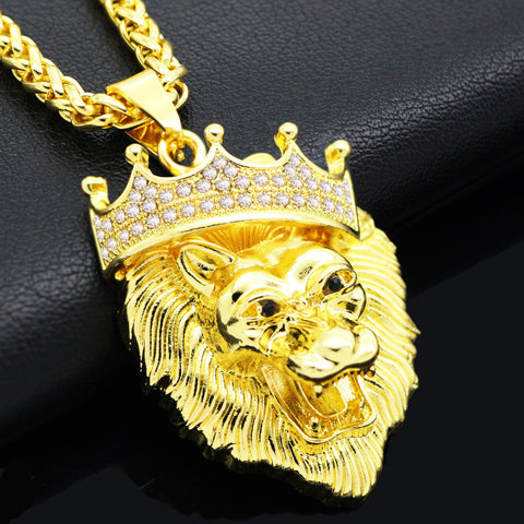 Alpha Lion King - Gold Plated Necklace Pendant - Topmazing