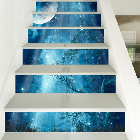 3D Moon Forest Stairway Stickers (6pcs) - Topmazing