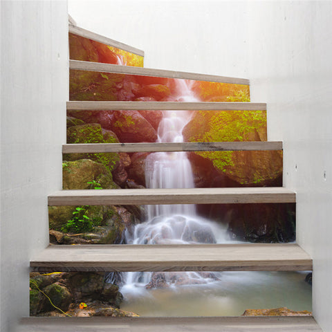 3D Forest Waterfall Stairway Sticker (6pcs) - Topmazing