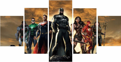 Justice League Canvas (5 Pieces) - NO FRAME - Topmazing
