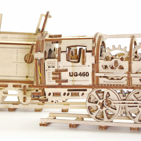 Wooden Model Kit Locomotive with Tender Mechanical 3D Puzzle
