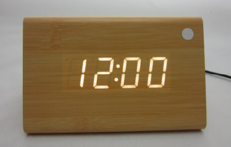 Triangle Wooden LED Alarm Clock