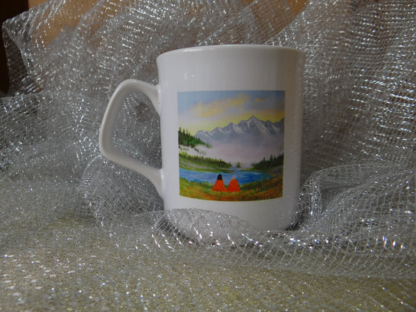 White Ceramic Cups with Inspirational Art