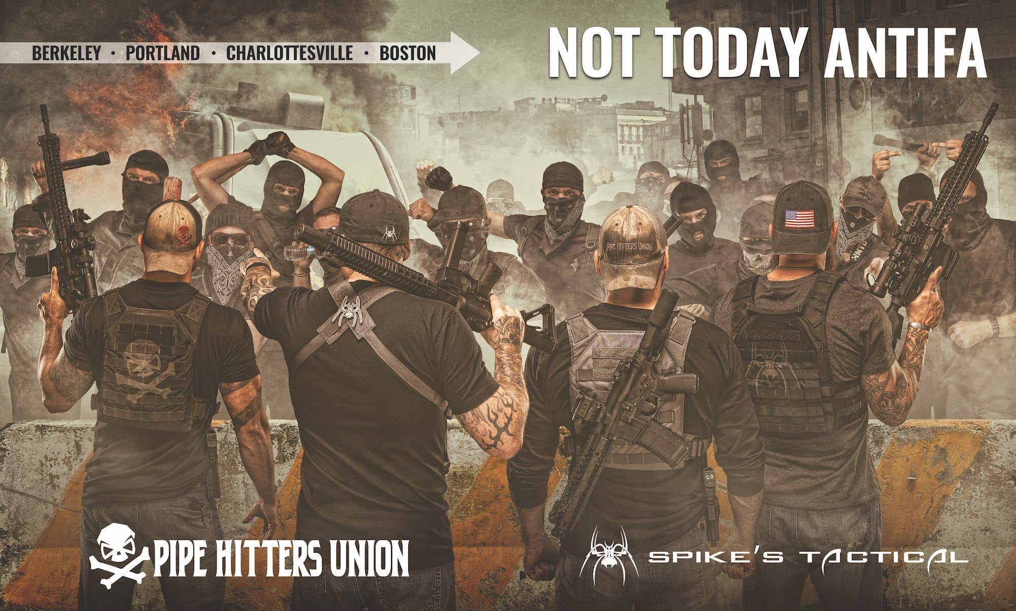 spikes tactical and pipe hitters union pro-american, anti-antifa advertisement