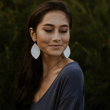 White Cork & Leather Petal Earrings