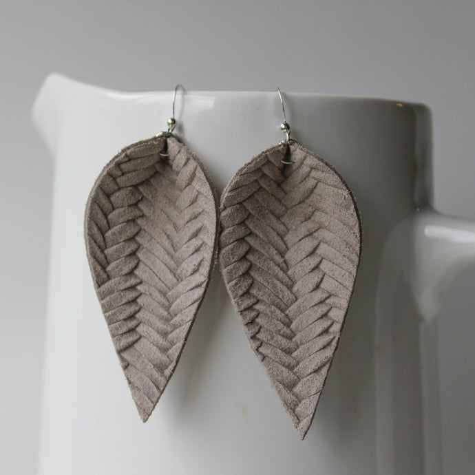 Warm Grey Leaf Earrings
