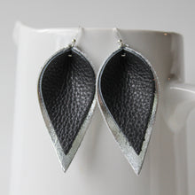Black on Silver Leaf Earrings