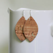 Cork with Silver Flecks & Leather Petal Earrings