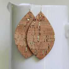 Load image into Gallery viewer, Cork with Silver Flecks & Leather Petal Earrings