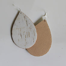White Cork & Leather Teardrop Earrings