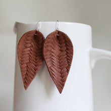 Chestnut Brown Braid Leaf Earrings
