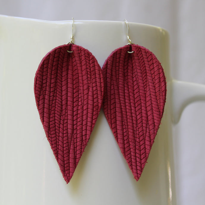 Brick Red Weave Leaf Earrings