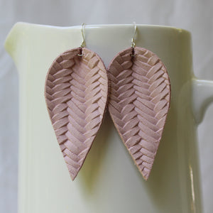 Blush Pink Braided Leaf Earrings