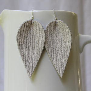 Creamy White Weave Leaf Earrings