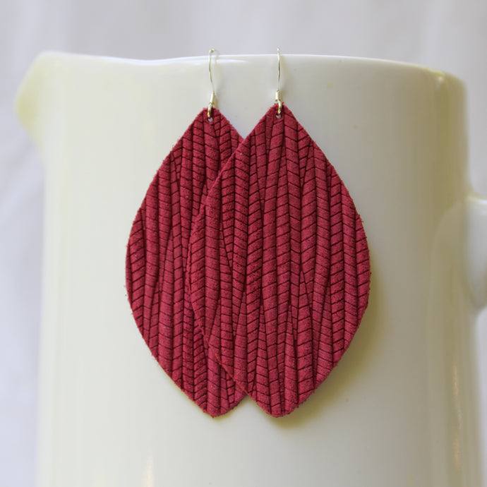 Brick Red Weave Petal Earrings