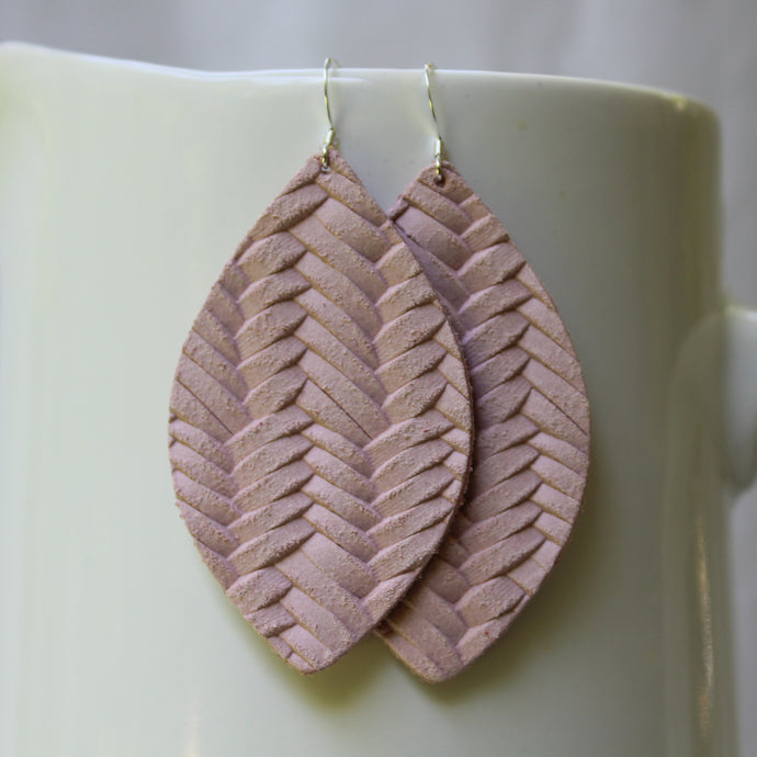 Blush Pink Braided Petal Earrings