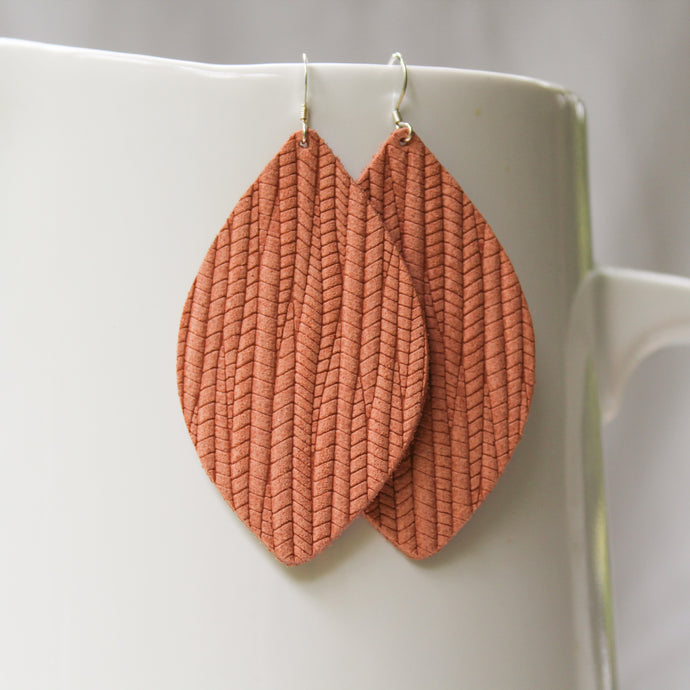 Peach Weave Petal Earrings