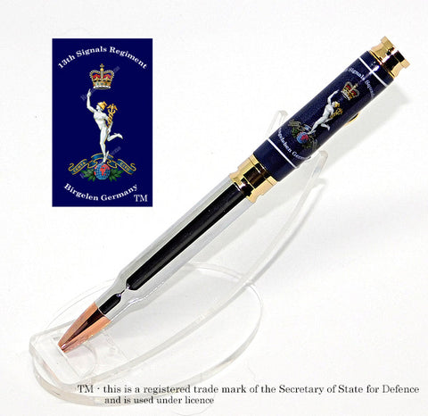 13th Royal Signals Regiment (Birgelen Germany) Bullet Pen 7.62mm - Blue Background - Regimental Pens