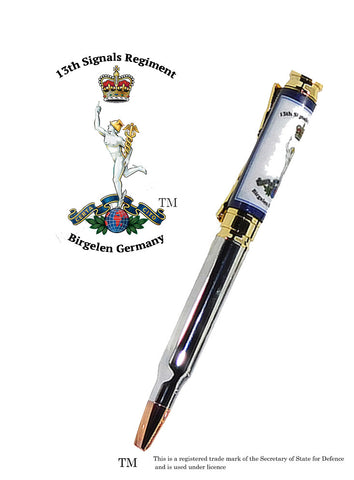 13th Signals Regiment - Birgelen Germany - Bullet pen 7.62mm White Background - Regimental Pens