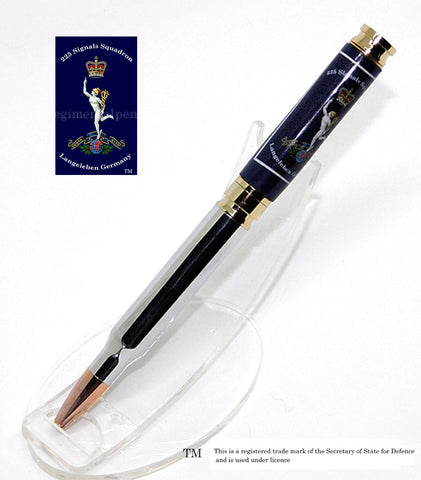225th Royal Signals Squadron bullet pen - Blue background - Regimental Pens