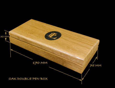 Engraved box suitable for two pens.  Lined with red velvet type material