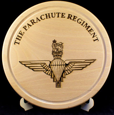 "Parachute Regiment cheeseboard - personalised 10"" - 250mm diameter"