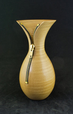 Hand crafted wooden zipped vase in chestnut