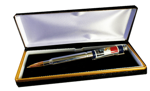 Faux Croc skin pen box with velvet and silk inner