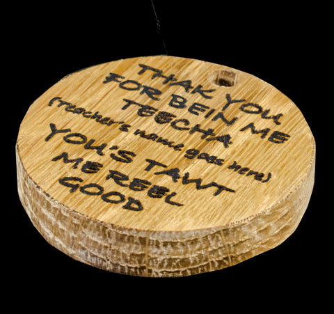 Student's 'Thank you' keyring for teacher in English Hardwood