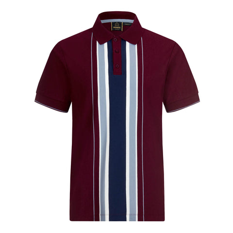 Hessle Vertical Stripe Polo Burgundy