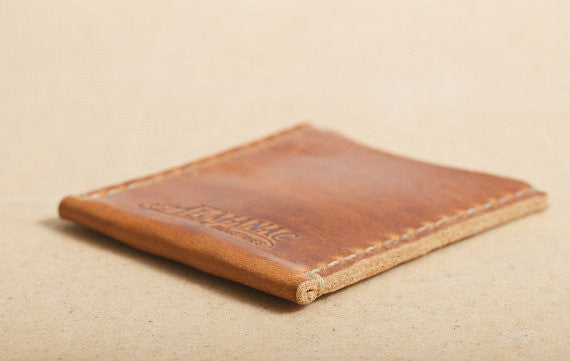 Card Case in Distressed English Tan Leather