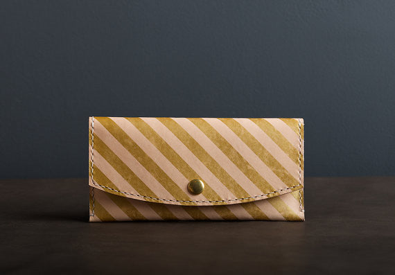 Leather Wallet in Gold Stripe