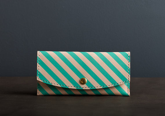 Leather Wallet in Teal Stripe