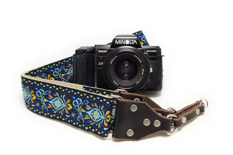 Hemp Camera Strap Blue Peacock Feathers Woven Ribbon on Organic Hemp Webbing and Leather Ends