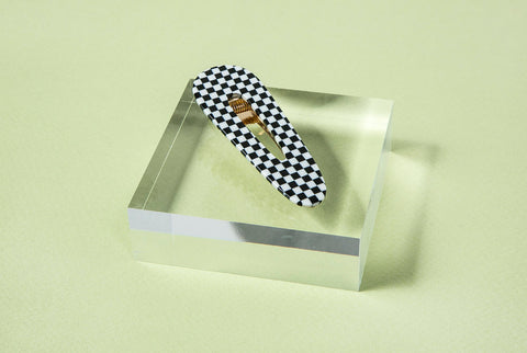 B&W Check Triangle Acetate Clip