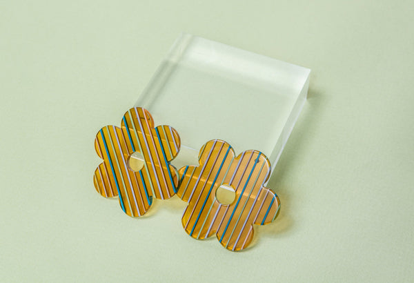 Large Amber Stripe Acetate Daisy Earrings
