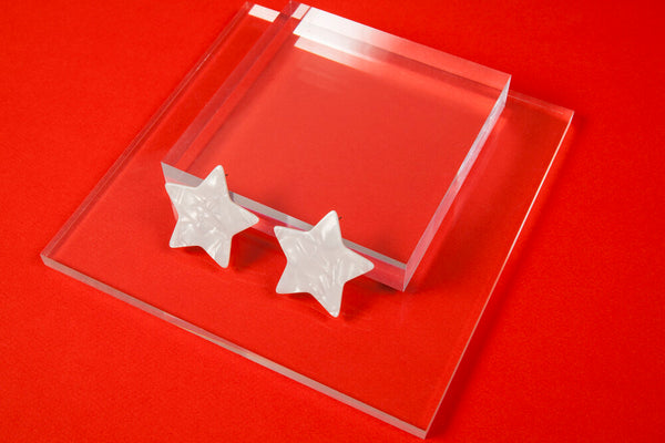 Large White Acetate Star Earrings