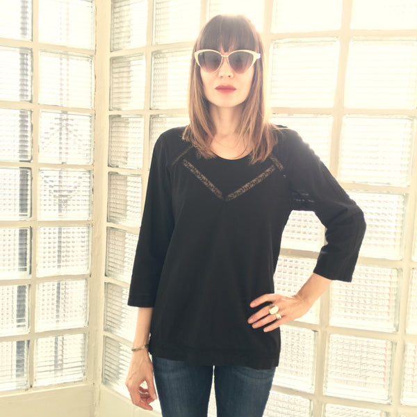 Brit Blouse with Lace Inserts Black
