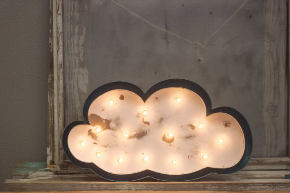 Marquee White Cloud Sign