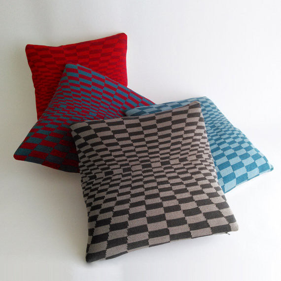 Cobblestones OP ART Pillow Teal & Burgundy