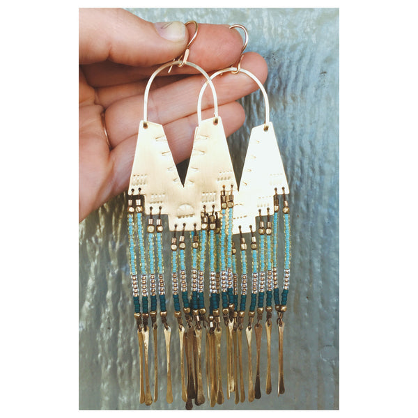 Demi Seafoam Earrings with Brass Fringe & Seafoam Beads