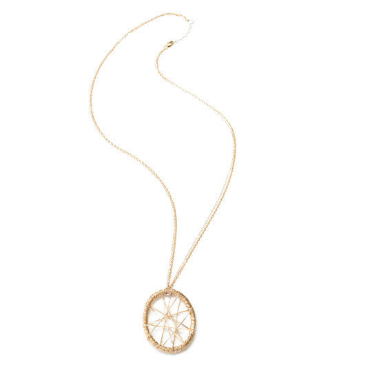 "Gold 1.25"" Pendant Dream Catcher Star Necklace; 18""L Chain"