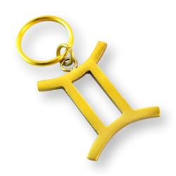 Brass Zodiac Key Ring Gemini