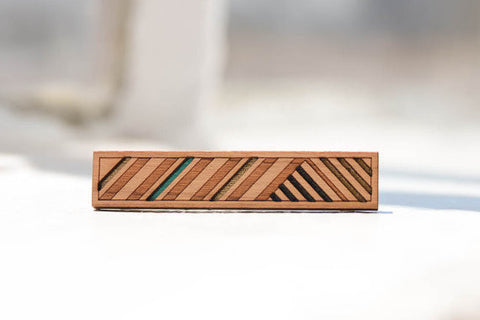 Striped Skinny Tie Clip - Bronze, Teal + Black