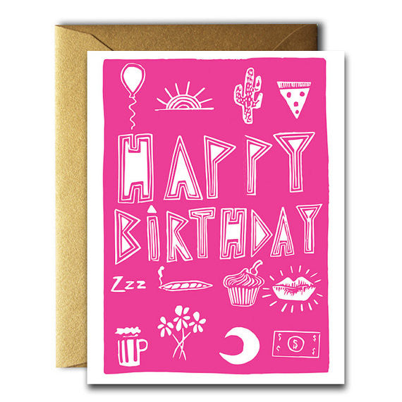 Happy Birthday Stuff Card Red