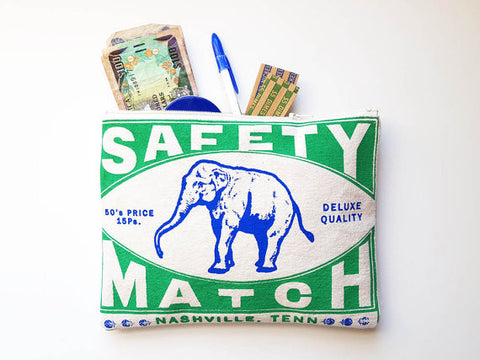 Elephant Matchbook Art Zipper Pouch