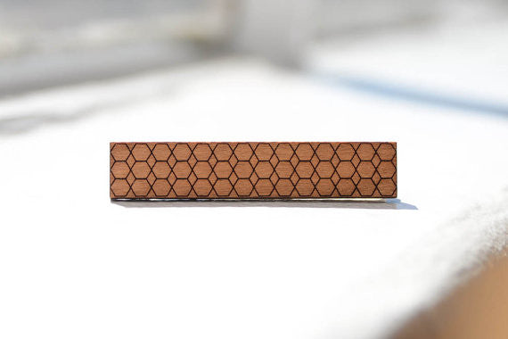 Skinny Tie Clip - Hexagonal Honeycombs