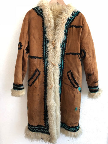 Brown Sheepskin Lined Coat
